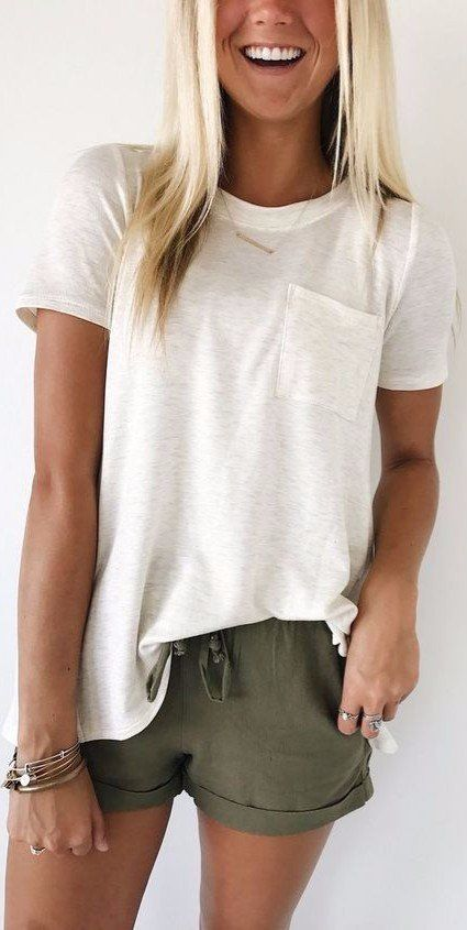Summer Outfits: White pocket front t-shirt, army green shorts, fantasy gold necklace, bracelets #outfitideas #beach #summer #blond