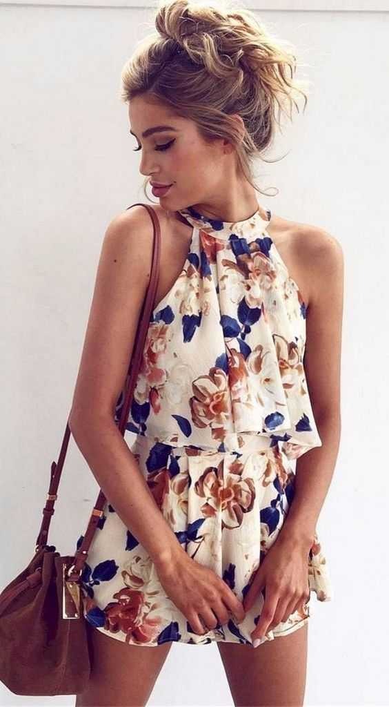 Summer Outfits: White halter floral romper, brown crossbody bag #outfit #summer #trendy #casual