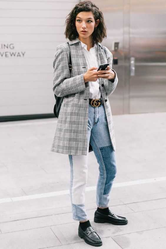 Tomboy Outfit: gray checked blazer, white shirt, mom jeans, black belt, black socks, black monk shoes, black bag #outfitoftheday #shorthair #brunette #tomboy