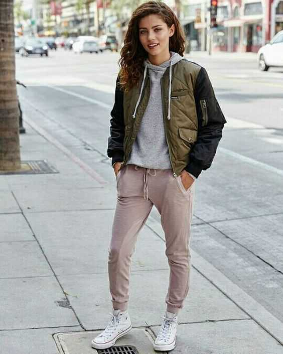 Tomboy Outfit: black and army green jacket, gray hoodie, beige jogger pants, white sneakers #outfit #smile #teen #trendy