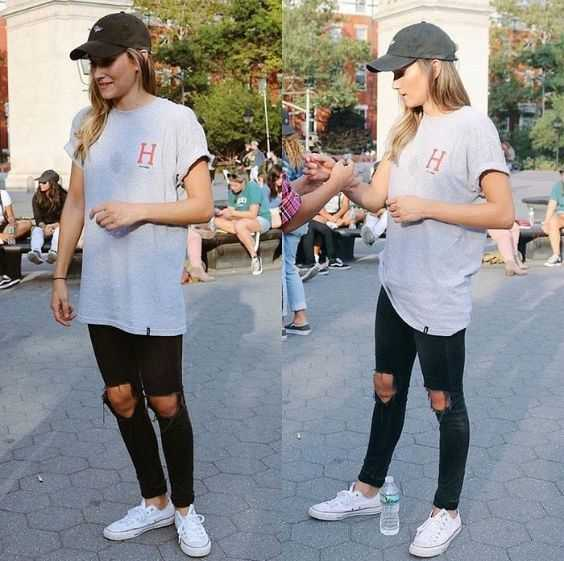 Tomboy Outfit: gray t-shirt, black ripped jenas, white sneakers, black cap #outfit #girl #tomboy #look