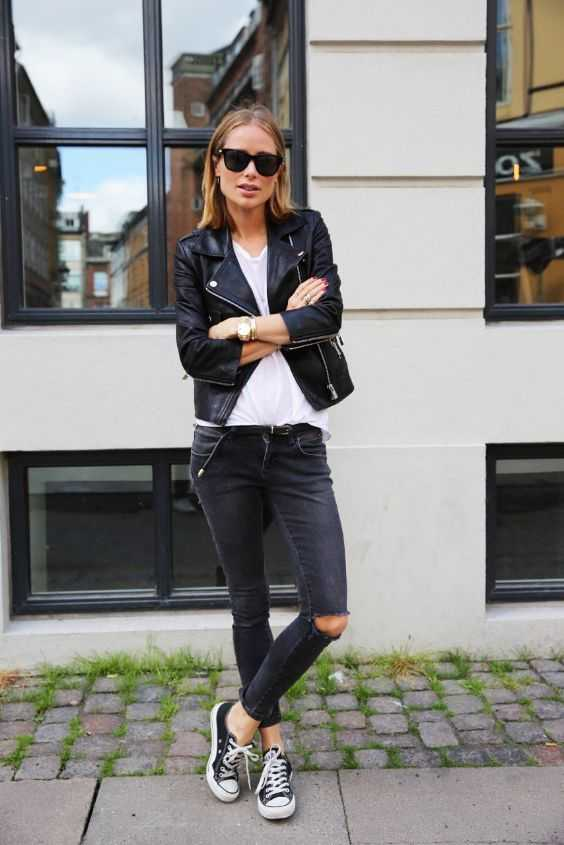 Tomboy Outfit: black faux leather jacket, white t-shirt, black ripped jeans, black and white sneakers, sunglasses #outfit #blonde #shorthair #black