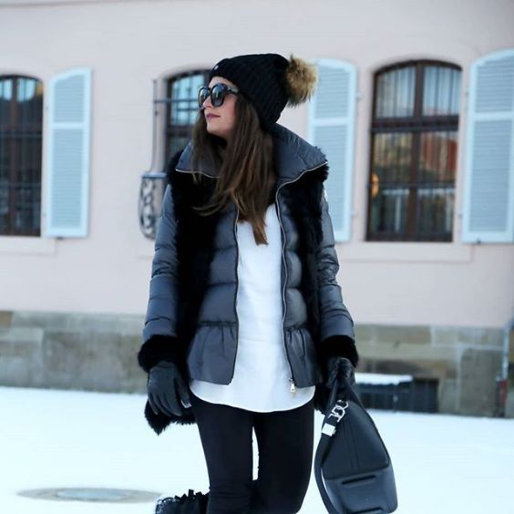 Winter Outfits: black and grey jacket, white top, black skinny pants, black bag, black winter hat, sunglasses, gloves #outfitideas #brunette #makeup #girl