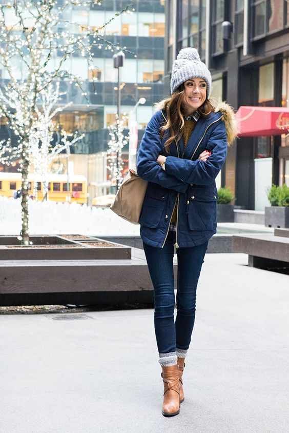 Winter Outfits: navy blue jacket, brown sweater, skinny jeans, camel booties, light brown bag, gray winter hat #outfitideas #winter #snow #fashion