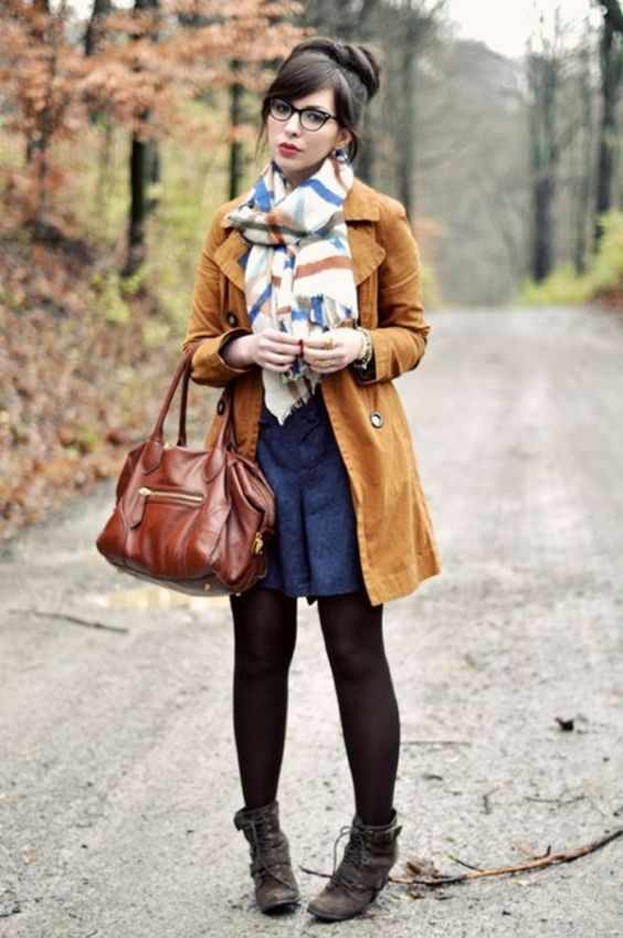 Winter Outfits: camel coat, colorful scarf, navy blue circle skirt, brown tights, brown booties, camel handbag #outfitoftheday #brunette #glasses #winter