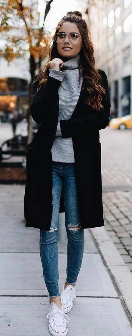 Winter Outfits: gray turtleneck sweater, black coat, ripped jeans, white sneakers #outfit #glasses #brunette #longhair