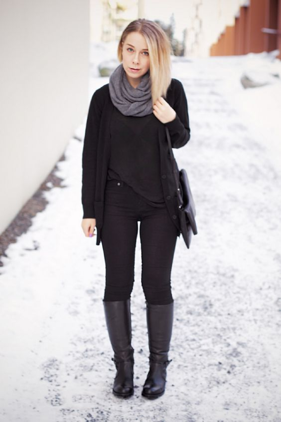 Winter Outfits: black jacket, black shirt, gray scarf, black skinny pants, black boots, black crossbody bag #outfit #blonde #winter #look