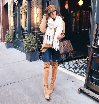 Winter Outfits: light brown sweater, skinny ripped jeans, brown handbag, camel knee high boots, brown beret hat, white scarf #outfitoftheday #winteroutfit #cold #women
