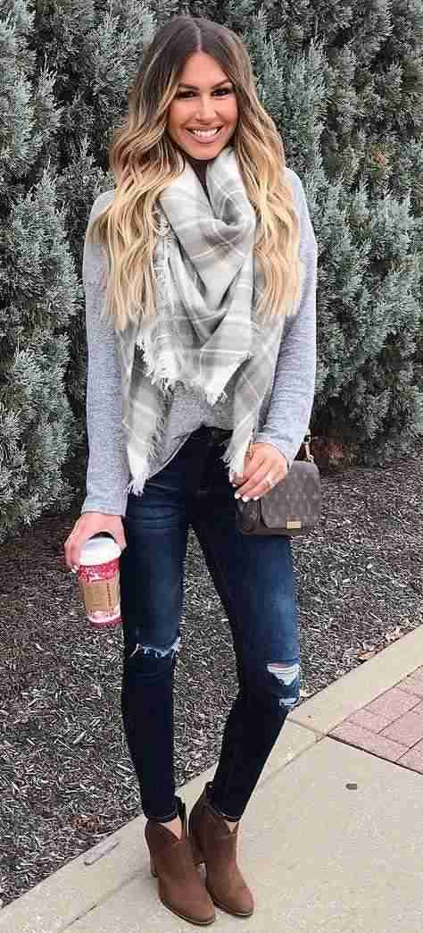 Winter Outfit: gray plaid scarf, gray sweater, ripped jeans, brown booties, brown crossbody bag #outfitoftheday #smile #cold #trendy