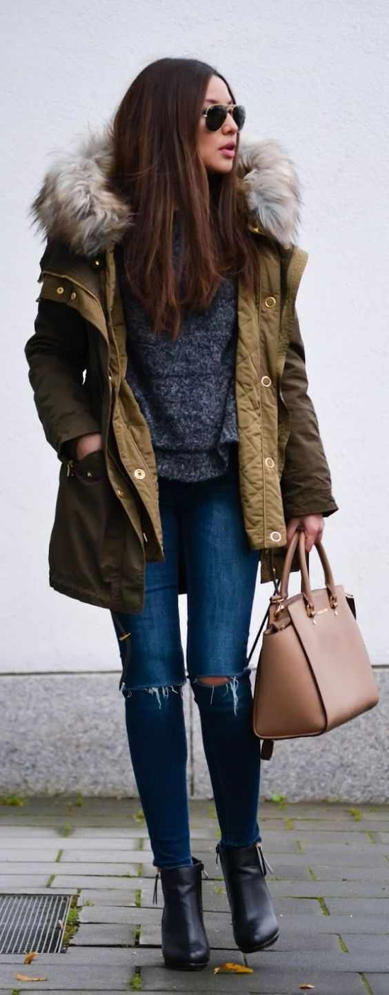 Winter Outfits: army green jacket, gray peplum shirt, ripped jeans, camel handbag, sunglasses, black boots #outfitideas #brunette #women #pretty