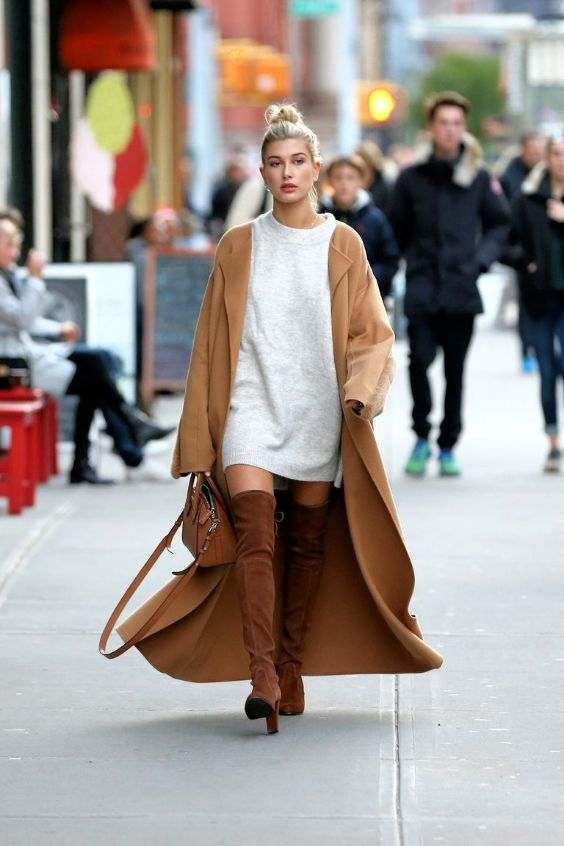 Winter Outfit: light gray dress, camel longline coat, camel knee high boots, camel handbag #outfit #cute #fashion #trendy