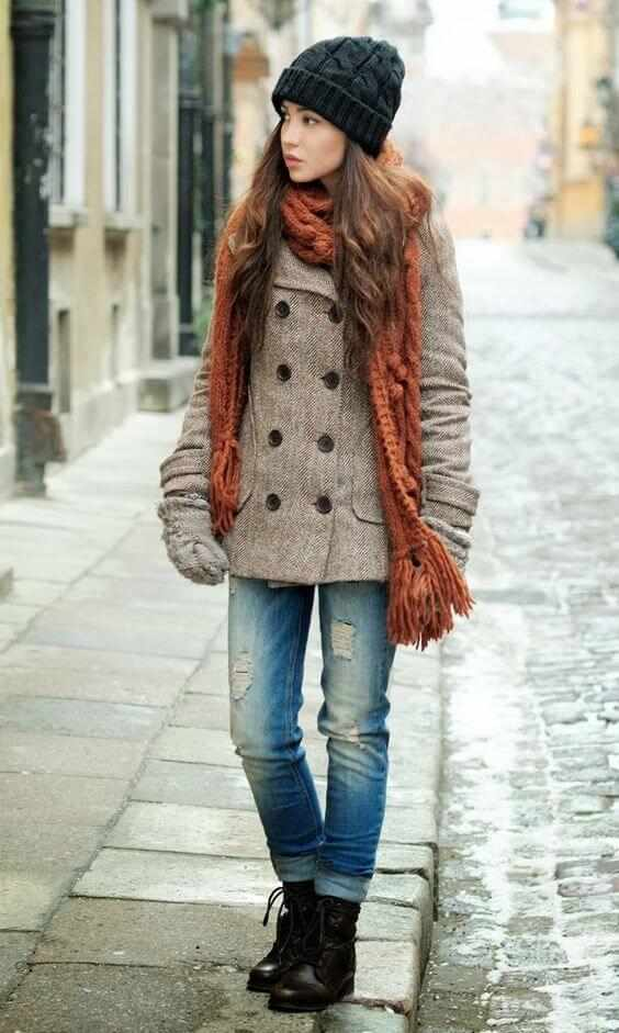 Winter Outfits: light brown coat, ripped jeans, black army boots, orange scarve, black hat, gloves #outfitideas #cold #pretty #teen