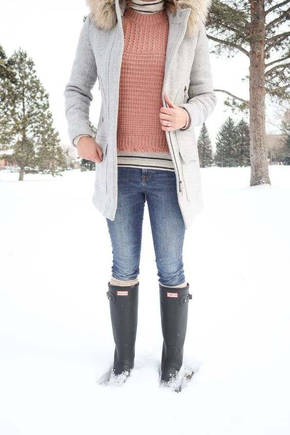 Winter Outfits: gray coat, pink sweater, black and white striped shirt, skinny jeans, black rain boots #outfitoftheday #snow #winter #pink