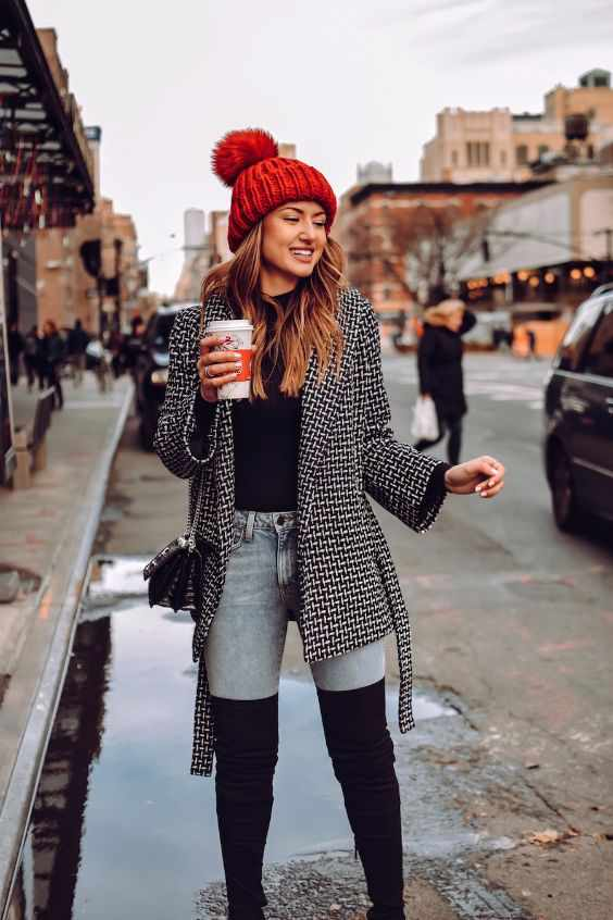 Winter Outfit: black and white coat, black top, skinny jeans,black knee high boots, black crossbody bag, red winter hat #outfitideas #fashion #red #pretty