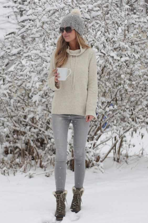 Winter Outfit: beige hoodie, gray skinny pants, brown army boots, gray winter hat, sunglasses #outfitoftheday #winteroutfit #hotchocolate #trendy