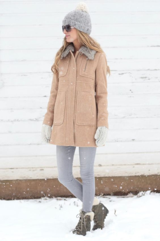 Winter Outfit: light brown coat, gray skinny pants, army boots, gray winter hat, gray gloves, sunglasses #outfit #winter #snow #fashion