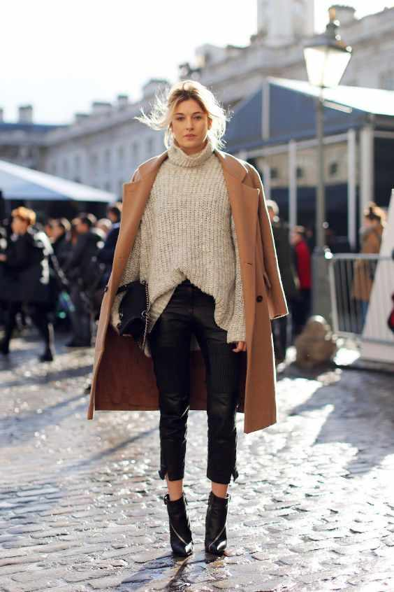 Winter Outfits: light brown coat, beige turtleneck sweater, black faux-leather capri pants, black booties, black purse #outfitoftheday #blonde #winter #dailylook