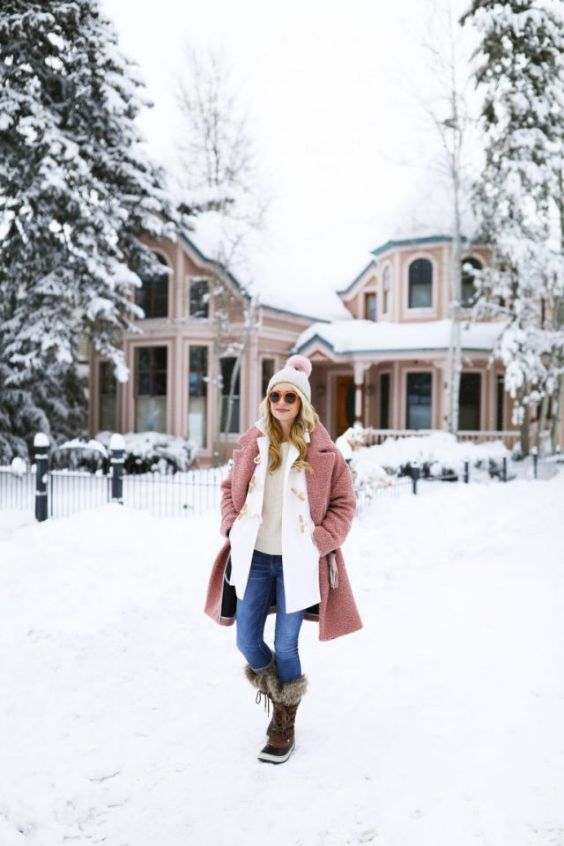 Winter Outfits: pink coat, white jacket, beige sweater, skinny jeans, brown lace up booties, beige winter hat, sunglasses #outfitoftheday #snow #winteroutfit #fashion