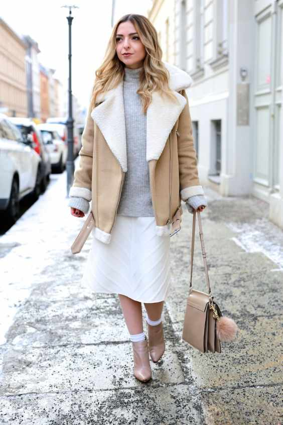 Winter Outfits: light brown jacket, gray turtleneck sweater, white tube skirt, nude booties, light brown bag #outfitoftheday #winteroutfit #blonde #makeup