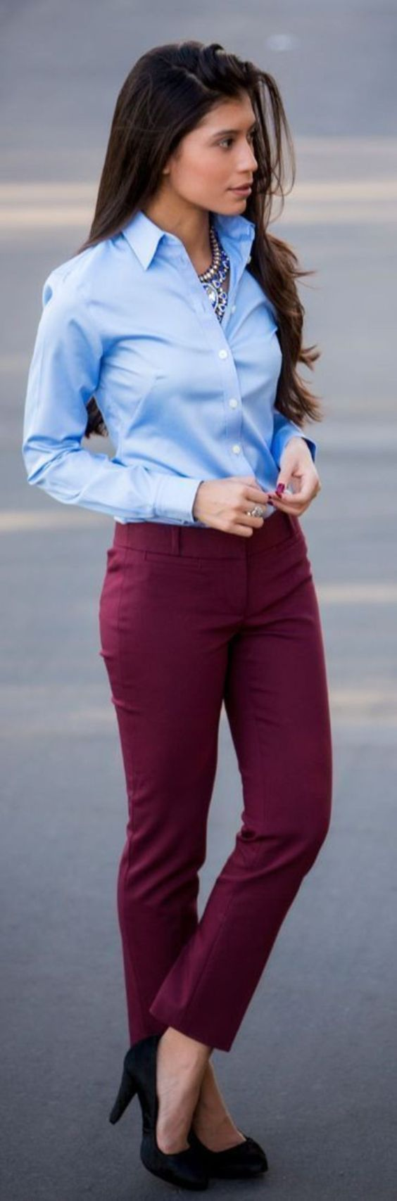 Work Outfits: light blue long sleeve blouse, wine skinny pants, black heels, necklace #outfitideas #women #pretty #look