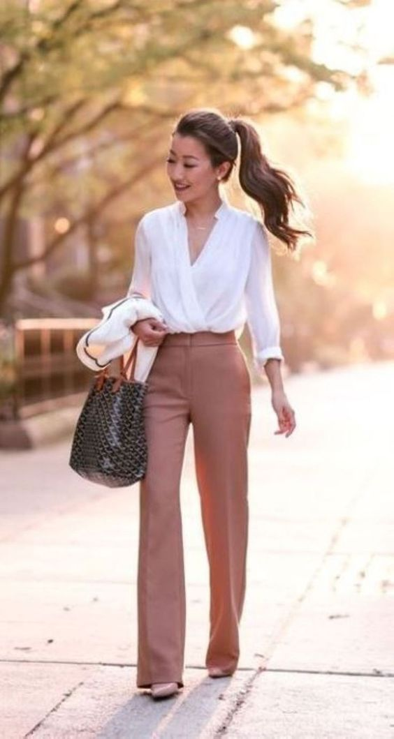 Work Outfits: white cross front long sleeve blouse, brown wide-leg pants, black and brown handbag #outfitideas #makeup #women #fashion