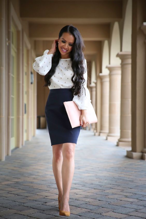 Work Outfit: white bell sleeve blouse, black pencil skirt, nude heels, earrings #outfitoftheday #longhair #professional #fashion