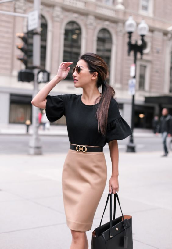 Work Outfits: black bell sleeve blouse, black belt, light brown pencil skirt, black bag, sunglasses #outfitoftheday #trendy #women #elegant