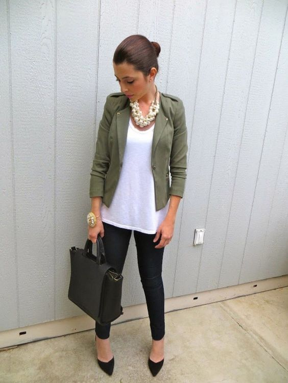 Work Outfit: white top, black skinny pants, army green blazer, black handbag, black pump shoes, faux pearl necklace, bracelet #outfitideas #armygreen #hairstyle #fashion