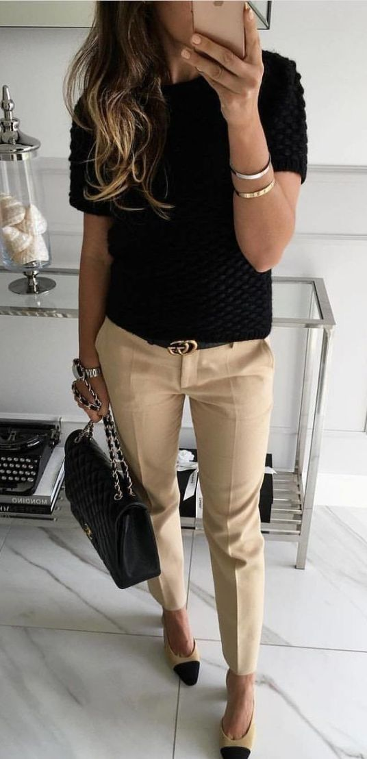 Work Outfit: black short sleeve sweater, khaki cropped pants, black belt, black and beige heels, black handbag, bracelet #outfitoftheday #longhair #lady #work