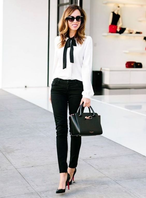 Work Outfits: black and white long sleeve bow tie blouse, black skinny pants, black heels, black handbag, sunglasses #outfitoftheday #elegant #blackandwhite #trendy