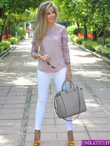 Work Outfit: pink half sleeve lace top, white skinny jeans, light brown handbag, yellow heels, bracelet, watch, sunglasses #outfit #makeup #hairstyle #women