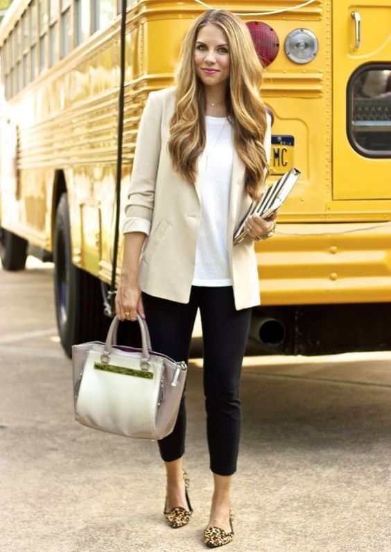 Work Outfits: beige blazer, white top, black skinny pants, animal print ballerina flats, white and silver handbag, necklace #outfitoftheday #dailylook #blonde #teacher
