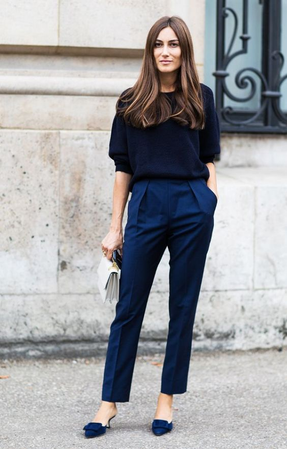 Work Outfit: black half sleeve sweater, navy blue pleat front pants, navy blue heels, white purse #outfitideas #brunette #blue #work