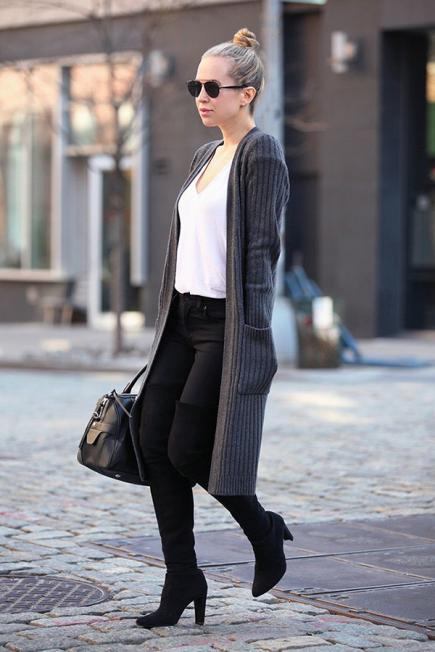 Work Outfits: gray longline cardigan, black skinny jeans, black knee high boots, black handbag, sunglasses #outfitoftheday #hairstyle #blonde #trendy