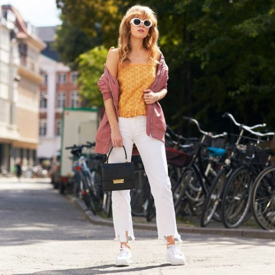 Work Outfits: yellow spaghetti strap top, white jeans, white sneakers, brwon sweater #outfitoftheday #trendy #lady #dailylook