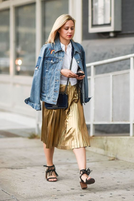 Work Outfit: denim jacket, white blouse, golden accordion skirt, black chunky heels, black crossbody bag #outfitoftheday #fashion #pretty #golden