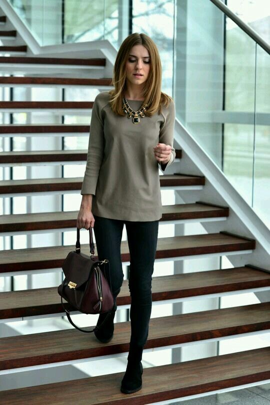 Work Outfit: brown half sleeve shirt, skinny jeans, brown bag, black booties, necklace #outfitoftheday #hairstyle #work #trendy