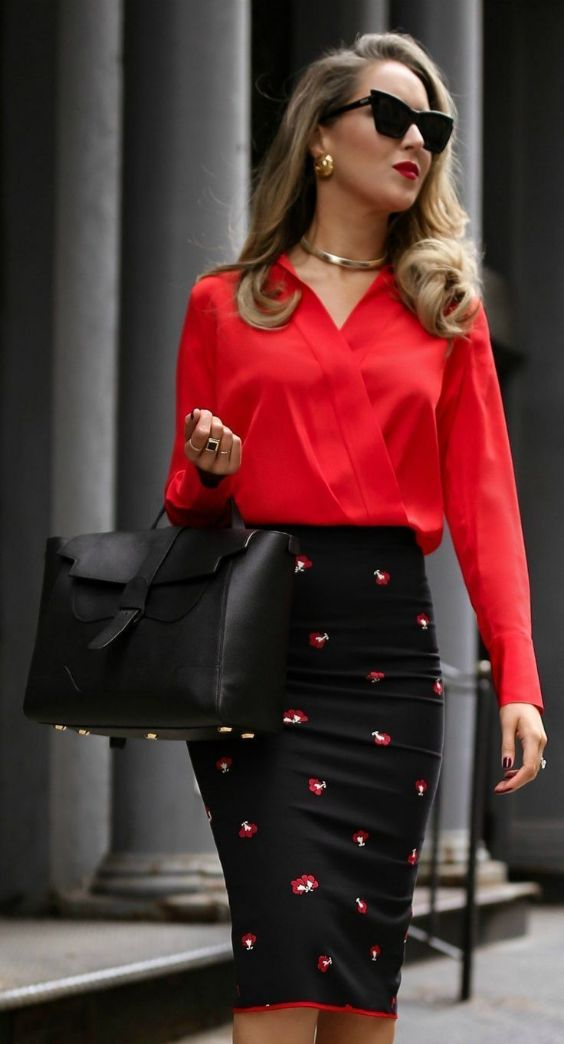 Work Outfit: red cross front long sleeve blouse, black floral pencil skirt, black handbag, necklace, earrings, sunglasses #outfit #accessories #blonde #fashion