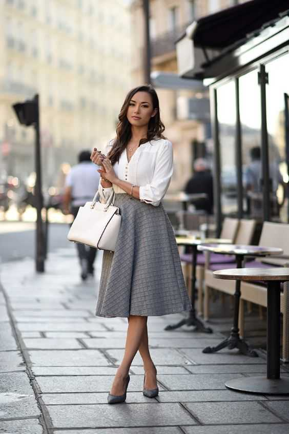 Work Outfits: white half sleeve blouse, gray checked circle skirt, gray pump shoes, white handbag #outfitoftheday #fashion #cute #women